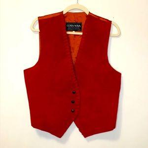 Vintage Cosa Nova leather western vest red large